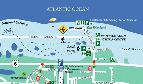 Provincetown Map ~ Race Point Road, Provincetown Airport Location
