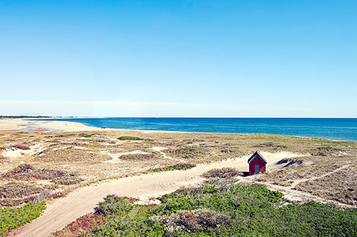 Provincetown, Cape Cod National Seashore Park, Race Point with red shack and dunes
