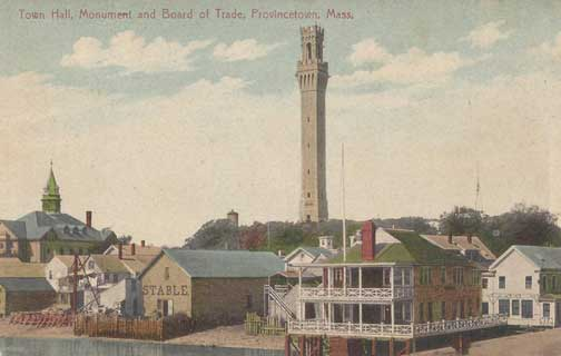 Provincetown Chamber of Commerce Building Fund (Old postcard with Town Hall, Pilgrim Monument and Board of Trade)