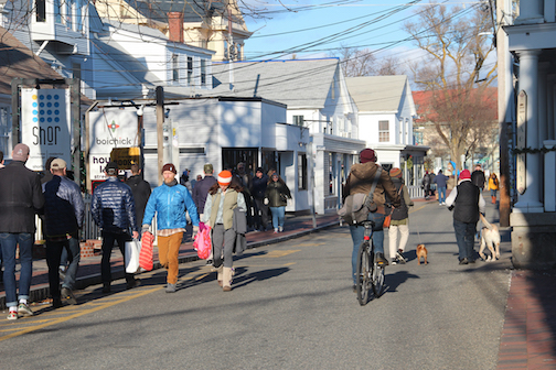 Commercial Street in Provincetown with visitors celebrating New Year 2020