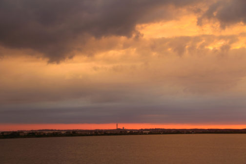 Sunset over Cape Cod Bay and Provincetown