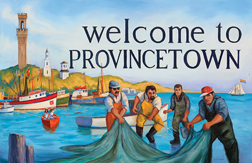 """Painting by Steve Kennedy """"Welcome to Provincetown"""" Rt 6A road sign"""