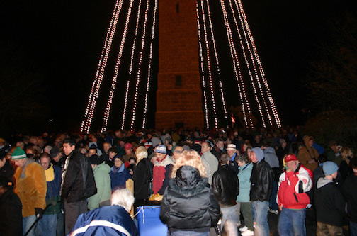 Night before Thanksgiving Provincetowners and visitors from all over Cape Cod and far away participate in lighting of Pilgrim Monument